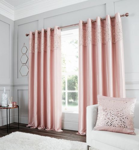 Catherine Lansfield Glitzy Blush Eyelet Curtains